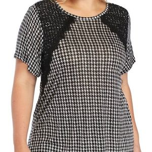 NWT Michael Kors Houndstooth Lace Black Top Shirt